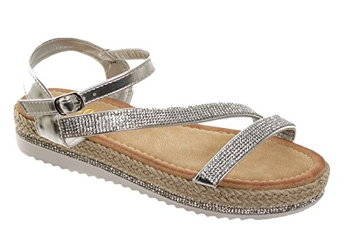 Fuchia boutique Women's Diamante Sparkly Strappy Flat Sandals Ladies Comfy Occasion Summer Party Shoes Silver ZEbMthR