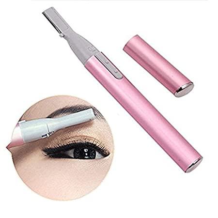 Electric Eyebrow Trimmer Women Facial Trimmer & Eyebrow Styling Kit Electric Pen Trimmer Battery-Operated Shaver with Eyebrow comb for Women by ShineMore (Pink) CX0011