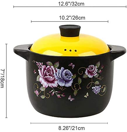 Ceramic Soup Pot,6 Quart Printing Pattern Round Casserole,Healthy Stew,6 Liters Stock Pot Suitable for 5 to 8 People,for Simmer Bake stews Oats soups