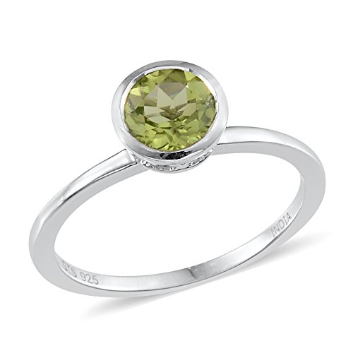 (Gemstones Peridot Birthstone Solitaire Ring For Women Girls 925 Sterling Silver Size 6 Cttw 0.6)