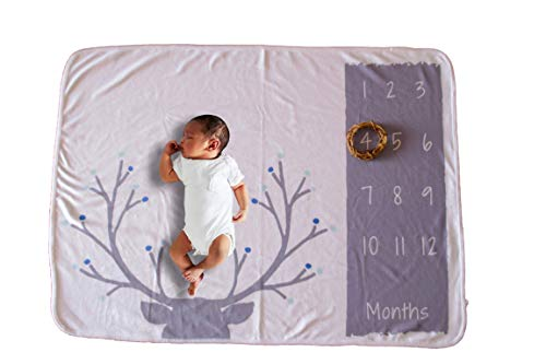 - Monthly Baby Milestone Blanket | Boy/Girl | 30 x 40in Premium Fleece | Deer Print | Photography Prop | Scrap-Booking