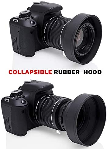 67MM Tulip Flower Petal Lens Hood Bundle with 67MM Collapsible Rubber Lens Hood for 67MM Camera Lens and Circuit City Premium Microfiber Cleaning Cloth