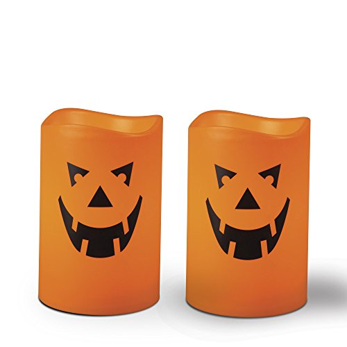 Halloween Jack O'Lantern Pumpkin Face LED Resin Flameless Candles (2-Pack)