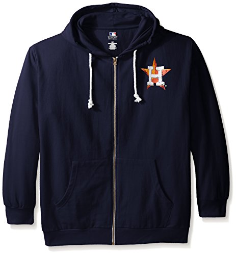 MLB Houston Astros Women's Plus Size Zip Hood with Logo, 2X, Navy