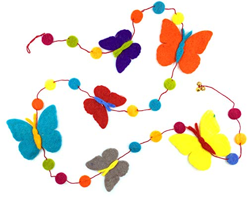 Fair Trade Wool Felt Butterfly Garland, Handcrafted in Nepal