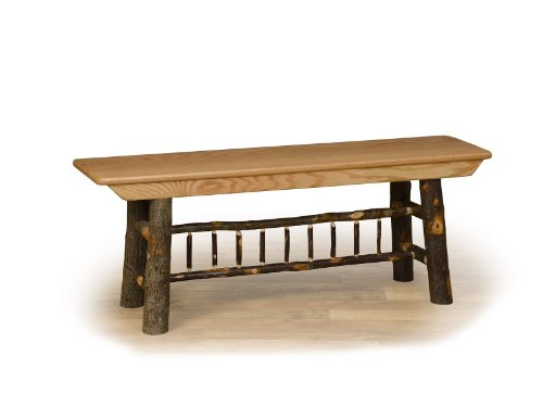 - Furniture Barn USA Rustic Hickory Farm Bench - Hickory Seat - 3 ft Long