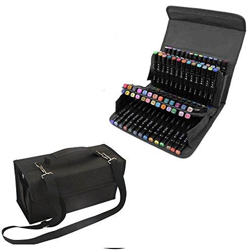 Marker Holder (80 Slot Marker Pen Case-Layer Art Markers Pens Portable Bag Carrying Storage Case Holders,Dry Erase Marker, Repair Marker Pen, Color Highlighter)
