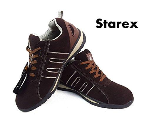 Zapatos de seguridad con puntera de acero para hombre o mujer, piel sintética, Grey/Black Suede, 7