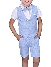 4745b2f8016 Toddler Boys Summer Suits Set Vest + Pants + Shirt + Bow Tie 4 Pieces Plaid