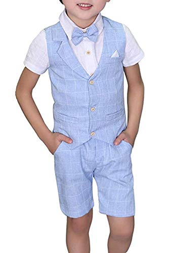 Yilaku Boys Formal Dress Wear Vest Set Toddler/Teen 4 Piece Suits Slim Fit (Blue 4-5Years)