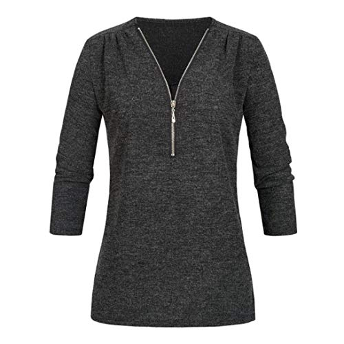(Photno Womens Tops,Loose Long Sleeve Zipper Knit T-Shirt Shirts Blouse Tops for Women)