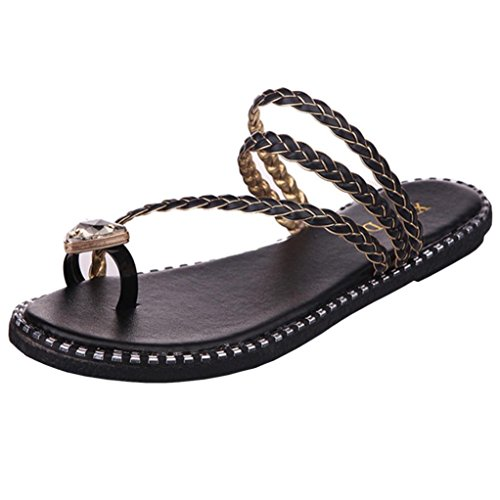 Transer Ladies Rhinestone Leisure Slippers- Women Flat Sandals Comfortable Slides Slippers Shoes Casual Black XM7iz