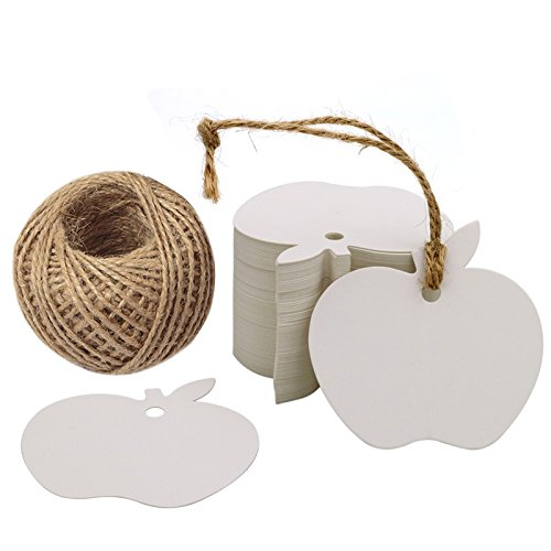 Paper Gift Tag for G2PLUS White Kraft Gift Tags 100 PCS Wedding Party Favor Tags with 100 Feet Natural Jute ()