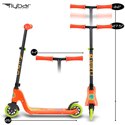 Flybar Aero 2-Wheel Kick Scooter For Kids With Grip Tape Deck, ABEC 5 Bearings, 125mm Light Up Wheels & Adjustable Handlebars - Holds Weights Up To 175 Lbs by Flybar (Image #1)
