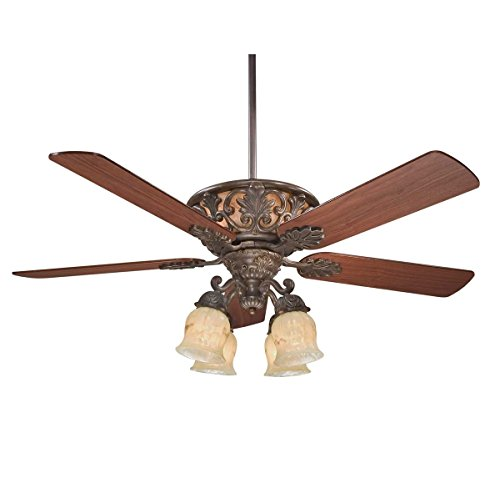 Patina 52 Inch Ceiling Fan (Savoy House 52-810-5WA-40 Monarch 52 Inch Ceiling Fan with Cream Carved Marble Glass, Walnut Patina)