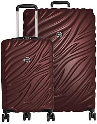 "Delsey Alexis Lightweight Luggage Set 3 Piece, Double Wheel Hardshell Suitcases, Expandable Spinner Suitcase with TSA Lock and Carry On (Burgundy, 2-piece Set (21""/29""))"