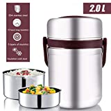 Vacuum Bento Lunch Box Food Carrier 304 Stainless Steel Insulated Thermos Food Container Storage Carrier, Leakproof BPA-Free 3 Tier Thermal Insulating Lunch Box, Keep Warm 6 hours (Coffee)