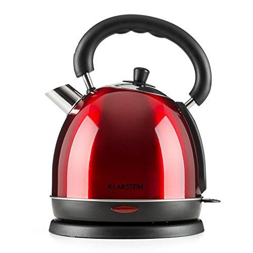 Klarstein Teatime Hervidor de agua - Inalambrico, Tetera electrica, Diseno tetera retro, Acero inoxidable, 1,8 L, 1850-2200 W, Filtro antical lavable, Rojo