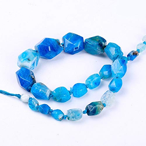 Calvas Top Quality semi-Precious Octagonal Faceted Crack Stripe Natural Stone Agata Beads Tower Chain DIY Jewelry Making for Necklace - (Color: Blue) ()