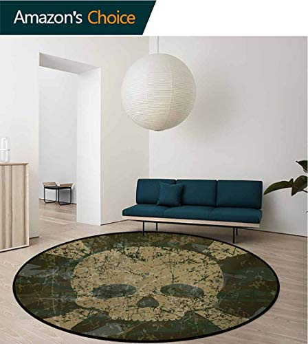 - Camo Round Area Rugs Super Soft Living Room,Abstract Texture with Skull and Crossbones Pattern Aged Rusty Grunge Style Bedroom Home Shaggy Carpet,Diameter-39 Inch Dark Green Khaki Cream