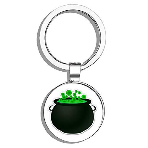 HJ Media Witch Cauldron Bubbling Metal Round Metal Key Chain Keychain Ring ()