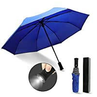 Monstleo Compact Travel Umbrella, Windproof Travel Umbrella with LED Light-Auto Open/Close Button