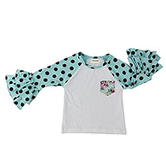 aeee5c0b Image Unavailable. Image not available for. Color: Wennikids Little Girls'  Long-Sleeve Ruffle T-Shirt Small Aqua Dot