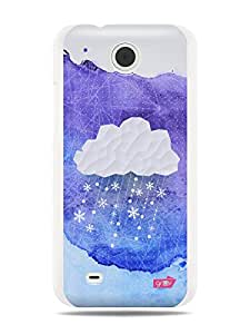 GRÜV Premium Case - 'Snow Cloud Origami Watercolors Painting' Design - Best Quality Designer Print on White Hard Cover - for HTC Desire 300 301e Zara Mini