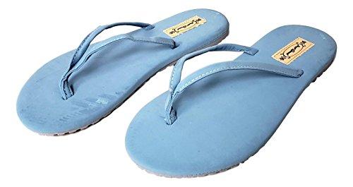 Women's Soft Touch Comfo Thong Style Sandal Flip Flop (Ladies 9 M, Sky Blue) Blue Thongs Flip Flops