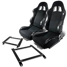 Pair of RST4BK Racing Seats+Mounting Bracket for Mazda Miata w/Bucket Seat