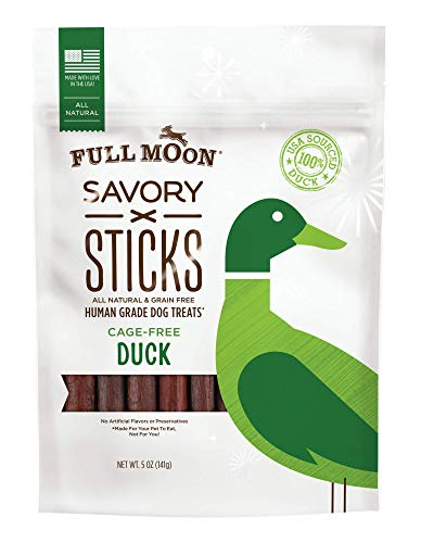 Full Moon All Natural Dog Treats, Human Grade Duck Savory Sticks, 5 Ounce (Half Duck Moon)