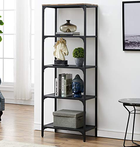 - HOMYSHOPY 5-Tier Industrial Open Bookcase and Book Shelf, Shelving Unit Storage Display Rack Mesh Shelf Home Bathroom Organizer, 1-PC
