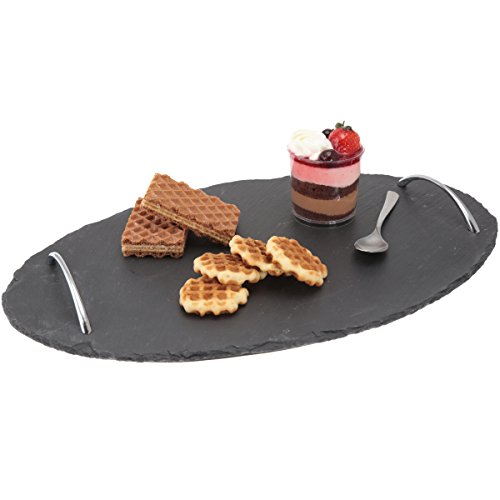15.75 Inch Tray - Evco International 73495 Natural Slate Oval Serving Tray with with Zinc Alloy Handles, 15-3/4