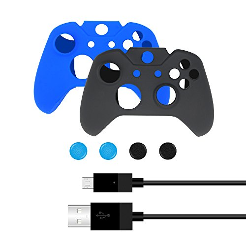 Bonacell-Silicone-Skin-Covers-and-Thumbstick-Caps-Set-for-Xbox-One-Controller-2-Skins-4-Thumpstick-Caps-1-Charging-Cable