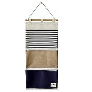 LINENLUX Over the Door Organizer Wall Closet Hanging Storage Bag Multilayer Linen Fabric Pouch Debris (Blue,11.8x25.1In)