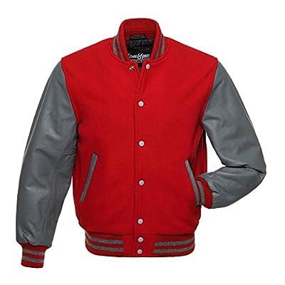 C138 Red Wool Grey Leather Varsity Jacket Letterman Jacket