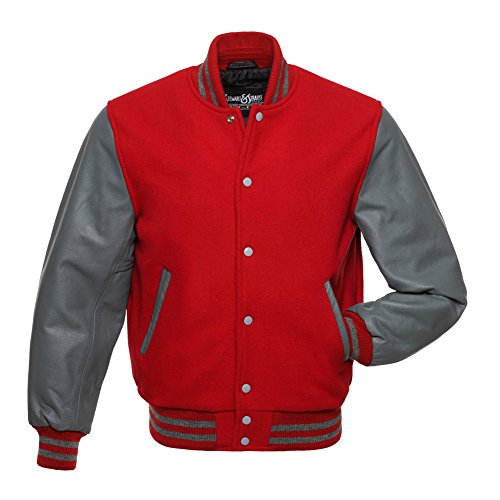 Stewart & Strauss C138-M Red Wool Grey Leather Varsity Jacket Letterman Jacket