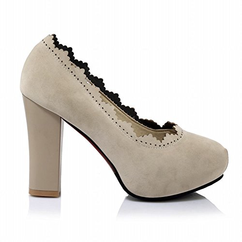 Charm Foot Womens Elegant Platform Chunky High Heel Pump Shoes Apricot KSjeXH5jc