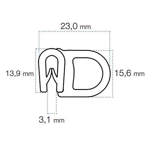 Black Rubber Door Boot Universal Edge Seal Trim 23mm x 15.6mm