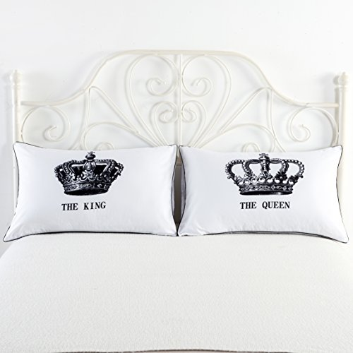 King and Queen Couples Pillow Cases,His Hers Pillowcases,Romantic Gifts,Funny Gift for Him, Gifts for Husband Hers Pillowcase