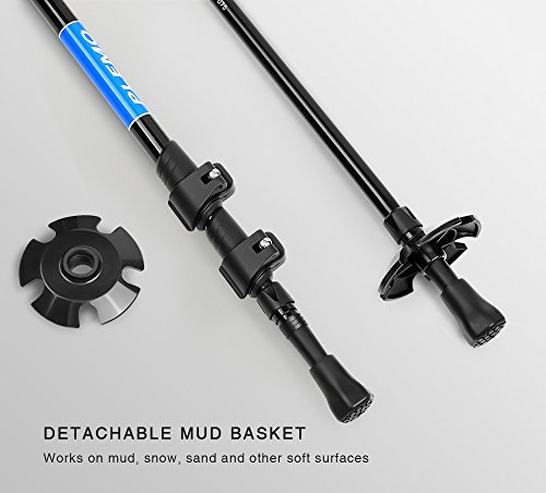 """Plemo 2 Pack Anti-shock Trekking / Walking / Hiking Trail Poles with EVA Foam Grip, Quick Lock and Tungsten Steel Spike Tip for Men and Women, 26.8"""" to 53"""" (Blue)"""