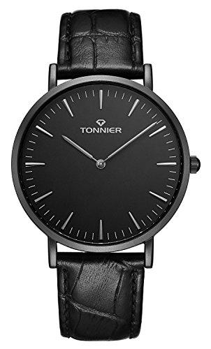(Tonnier Stainless Steel Slim Men Watch Quartz Watch Black Face (Black Leather))