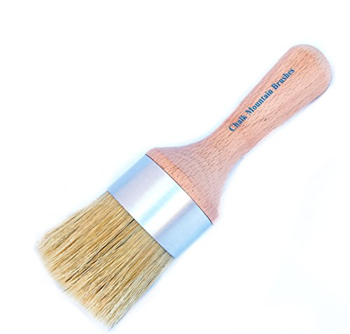 Chalk Mountain Brushes NEW LOOK - Large Round Boar Hair Bristle DIY Furniture Wax or Stenciling Brush (Waxing Brush)