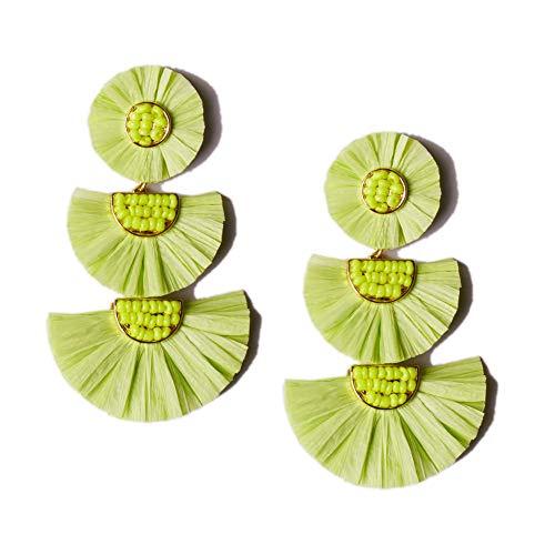 L&N Rainbery Bohemian Handmade Drop Earrings Fashion Beaded Raffia Palm Earrings for Women Tiered Dangle Statement Earrings (Lime) ()