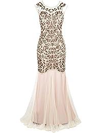 Women s 1920s Black Sequin Gatsby Maxi Long Evening Prom Dress