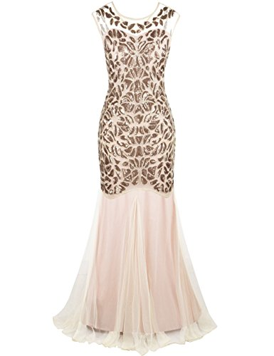 PrettyGuide Women's 1920s Sequin Gatsby Flapper Formal Mermaid Evening Dress S Champagne