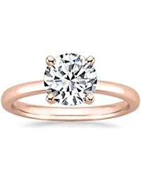 Near 1 Carat 18K White Gold Round Cut Solitaire Diamond Engagement Ring (0.85 Carat H-I Color SI2-I1 Clarity)