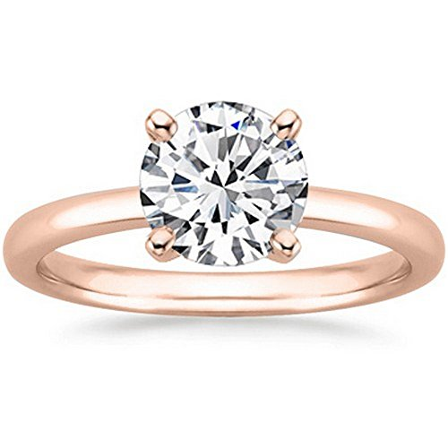 1/2 Carat GIA Certified 18K Rose Gold Solitaire Round Cut Diamond Engagement Ring (G-H Color, SI1-SI2 Clarity) by Diamond Manufacturers USA