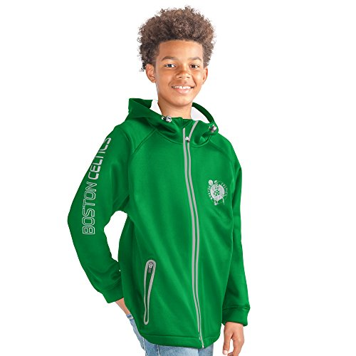 G-III Sports NBA Boston Celtics Youth Boys Motion Full Zip Hooded Jacket, Medium, Green Celtic Full Zip Jacket