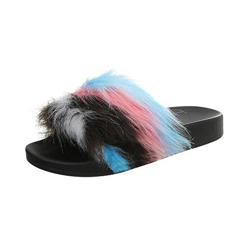 para de Zapatos vestir mujer 851 Sandalias Zuecos Plano Ital Design Azul Negro dwZqpZf